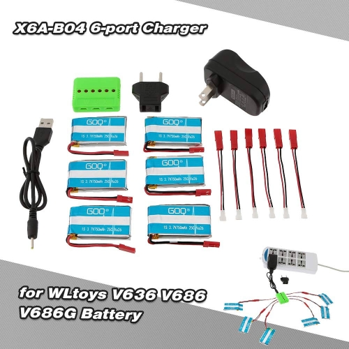 Super Fly 6-port Charger Sets X6A-B04(VA26A) with 3.7V 750mAh Lipo Battery for RC Helicopter / Quadcopter JST Charging Cable for WLtoys V636 V686 V686G