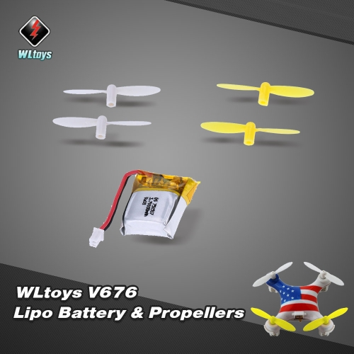 Original WLtoys V646 RC Teil 3,7V 100mAh Lipo Akku V646-05(VA18) mit Propeller set für WLtoys V646 V676 Hubsan H111 Cheerson CX-10 CX-10A JJRC H1 H7 RC Quadcopter