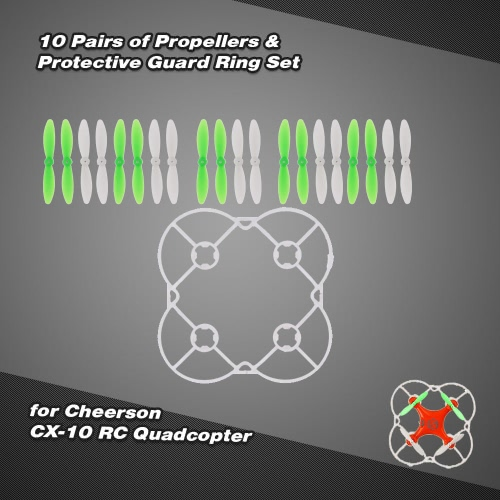 RC Part 10 Pairs of Propellers and Protective Guard Ring Set for Cheerson CX-10 Quadcopter