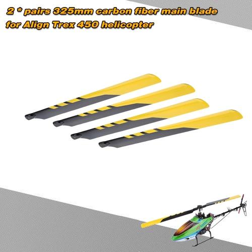 2 * Paare Kohlefaser-325mm wichtigsten klingen für ausrichten Trex Electric 450 Hubschrauber
