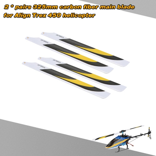 2 * Pairs Carbon Fiber 325mm Main Blades for  Align Trex Electric 450 Helicopter