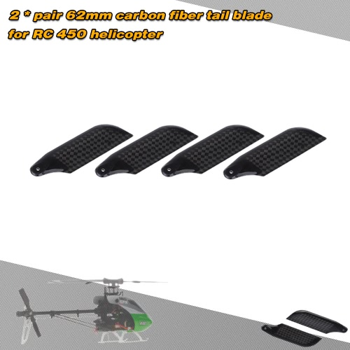 2 * Para Carbon Fiber Blades 62mm Tail dla Align Trex 450 RC Helicopter