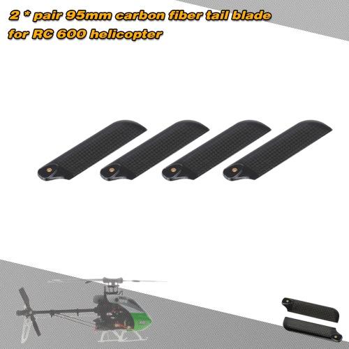 2 * Paare Kohlefaser 95mm Tail Blades ausrichten Trex 600 RC Helicopter