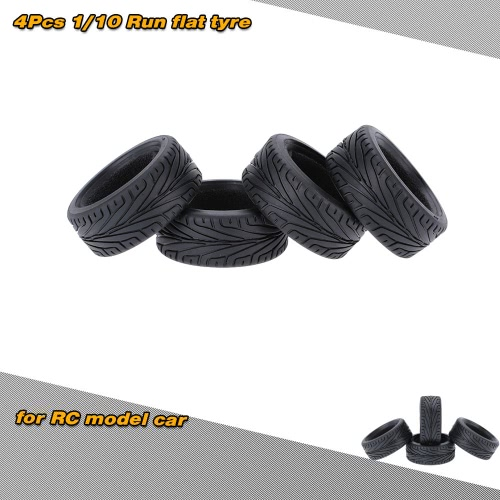 4pcs/Set 1/10 grano correre pneumatico di gomma di automobile piana per Traxxas HSP Tamiya HPI Kyosho On-Road Run-flating auto