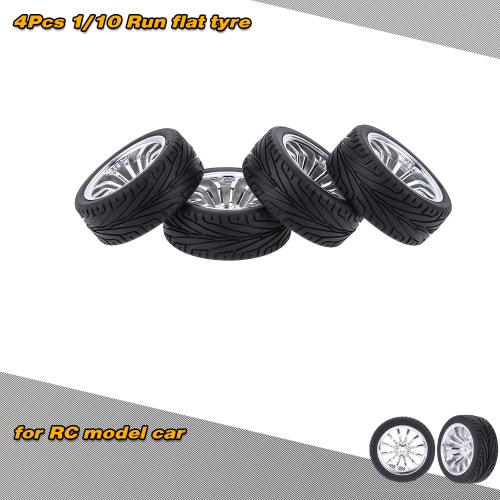 4Pcs/Set 1/10 Run flat Car Tires Hard Tyre for Traxxas HSP Tamiya HPI Kyosho On-Road RC Car