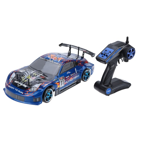 Original HSP 94123 2.4Ghz Transmitter Eletronic Powered Brushless ESC 1/10 Flying Fish On-road Drifting RTR 4WD RC Car with 12307 Body