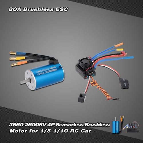 3660 2600KV 4P sensorlose Brushless Motor für 1/8 1/10 RC Car Off-Road Truck & 80A bürstenlose spritzwassergeschützte elektronische Speed Controller ESC mit Blheli Firmware und 6.1V / 3A Switch Mode BEC für 1/8 1/10 RC Car