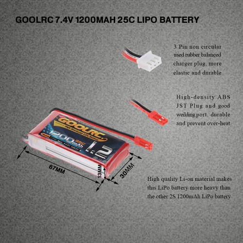 GoolRC  2S 7.4V 1200mAh 25C Li-Po Battery with JST Plug for RC Quadcopter Multicopter Cars