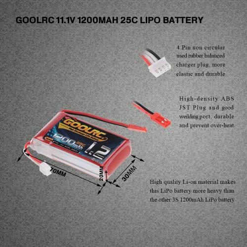 GoolRC 3S 11.1V 1200mAh 25C Li-Po batería con JST conector para RC helicóptero H250 Quadcopter 280 300