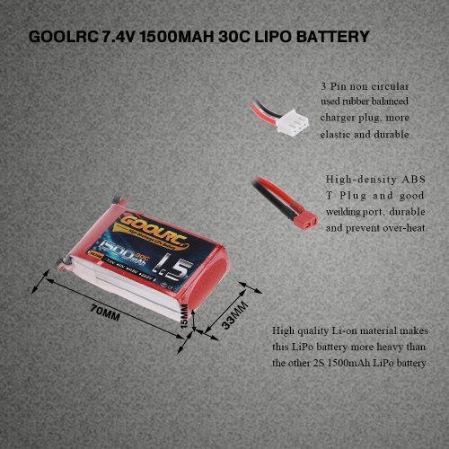 GoolRC 2S 7.4V 1500mAh 30C Li-Po Battery with T Plug for RC Car Boat Truck Drone