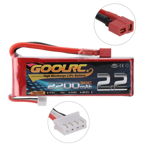 GoolRC 3S 11.1V 2200mAh 30C Li-Po Battery with T Plug for RC 450 Helicopter QAV250 H280 H300 Quadcop
