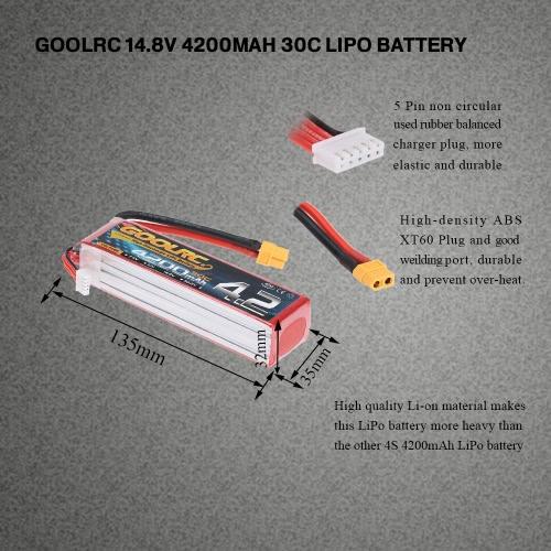 GoolRC 4S 14.8V 4200mAh 30C LiPo Battery with XT60 Plug for RC Car Boat Truck