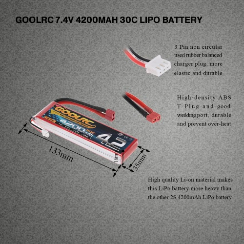 GoolRC 2S 7.4V 4200mAh 30C Li-Po Battery with T Plug for RC Car Boat Truck