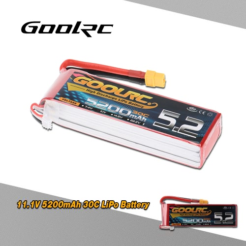 GoolRC 3S 11.1V 5200mAh 30C LiPo Battery with XT60 Plug for RC Helicopter Car Boat Truck