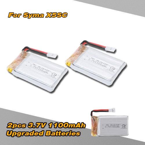 2pcs 3.7V 1100mAh Batteria a Lipo Migliorata per Syma X5SC X5SW RC Quadrirotore Aeroplano Radiocomandato