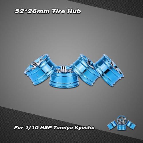 4本   ショックプルーフ クラッシュ耐性 アルミニウム合金    52*26mmタイヤハブ   1/10 HSP Tamiya Kyosho オンロードランフラ  ットRCカー用