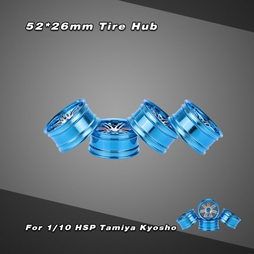 4Pcs Aluminum Alloy 52 * 26mm Tire Hub for 1/10 HSP Tamiya Kyosho On-road Run-flat RC Car