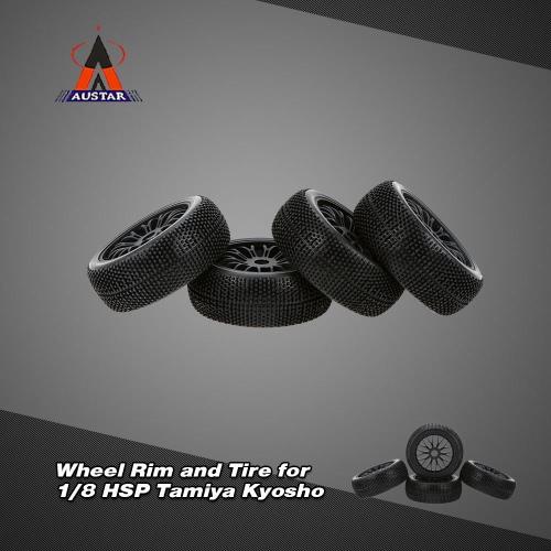 4ST schwarze Felge und Reifen für 1/8 HSP Tamiya Kyosho Offroad RC Car