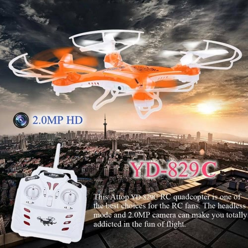 Original Attop YD-829C 2.4GHz 4CH 6-Axis Gyro RTF RC Quadcopter UFO Drone with Headless Mode and 2.0MP Camera
