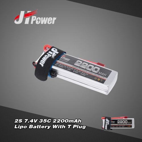 JHpower 7.4V 2200mAh 35C 2S LiPo Battery With T Plug for RC Car Airplane Helicopter