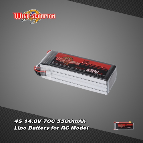 Wild Scorpion 14.8V 5500mAh 70C 4S LiPo Battery with XT60 Plug for RC Car Airplane Helicopter Boat