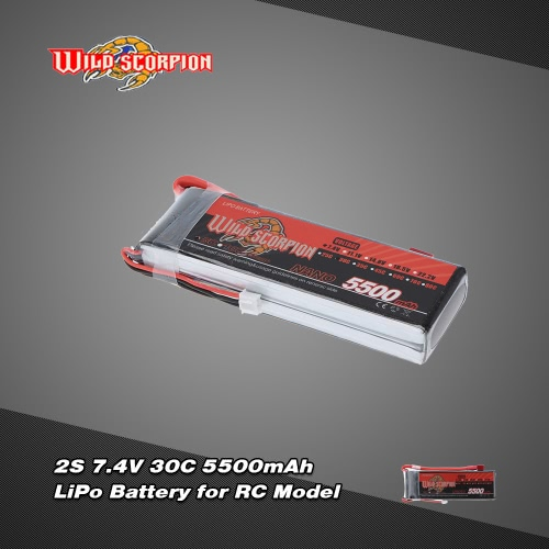 Wild Scorpion 7.4V 5500mAh 30C 2S LiPo Battery with T Plug for RC Car Airplane Helicopter Boat