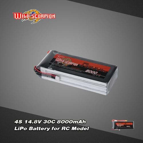 Sauvage Scorpion 14.8V 8000mAh avec Câble adapteur 30C 4 s LiPo batterie avec prise XT60 pour RC voiture avion hélicoptère bateau