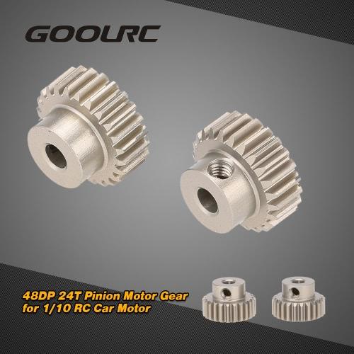 GoolRC 2Pcs 48DP 24T Pinion Motor Gear for 1/10 RC Car Brushed Brushless Motor