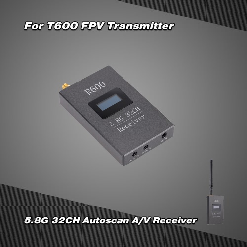 R600 5.8G 600mW 32CH AV Image Transmission Receiver with OLED Display for FPV Aerial Photogaraphy