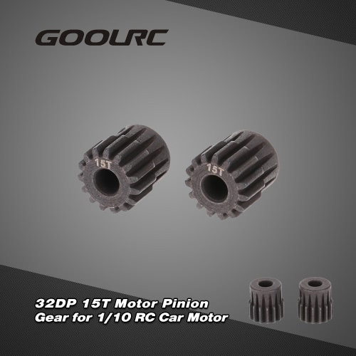 GoolRC 2Pcs 32DP 5mm 15T Motor Pinion Gear for 1/10 RC Car Brushed Brushless Motor