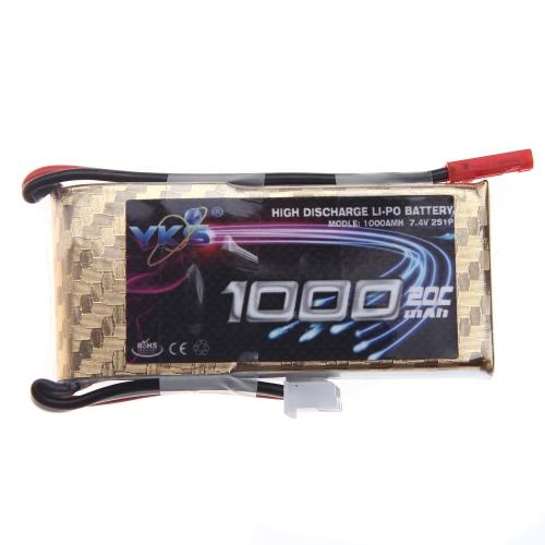 Haute puissance YKS Lipo batterie 7.4V 1000mah 20C 30C MAX JST brancher pour RC avion hélicoptère Part (7.4V 1000mah 20C lipo batterie, Accu Lipo 7.4V, RC batterie JST)