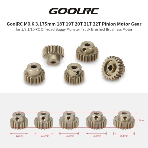 Second Hand GoolRC M0.6 3.175mm 18T 19T 20T 21T 22T 0.6 Module Pinion Motor Gear for 1/8 1/10 RC Off-road Buggy Monster Truck Brushed Brushless Motor RM7297-WO