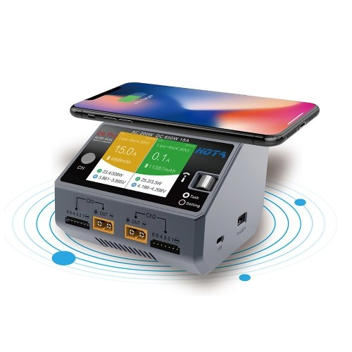 HOTA D6 Pro Smart Charger AC200W DC650W 15A for Lipo NiMH Battery Phone Wireless Charging
