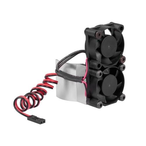 RC Car Motor Heatsink 550 540 Motor Double Cooling Fans with Thermal Sensor CNC Aluminum Alloy Heatsink Image