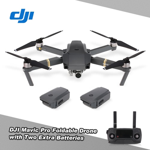 DJI Mavic Pro 4K FPV Foldable RC Drone Quadcopter Fly More Combo with Two Extra Batteries Car Charger Shoulder Bag