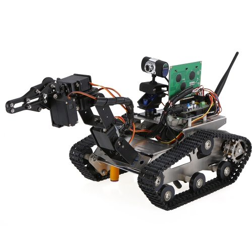 TH Roboter Wifi Smart DIY Crawler RC Roboter Tank mit Manipulator 480 P Kamera Hindernisvermeidung PC Telefon Control Education Tool