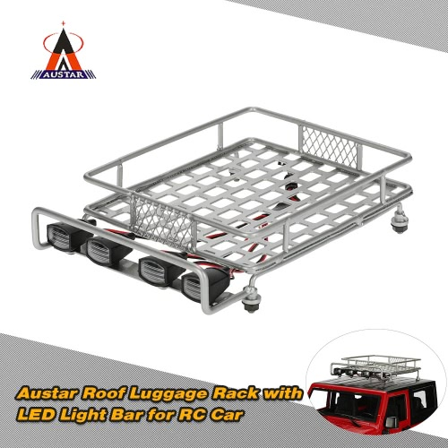 Original Austar AX-514B Roof Luggage Rack with LED Light Bar for 1/10 1/8 CC01 CR01 D90 AXIAL SCX10 RC Cars Rock Crawler