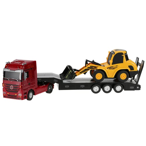 Original RUICHUANG QY1151 2.4G 1:32 Mercedes Benz Heavy Trailer and 1:20 Bulldozer RTR RC Car Engineering Vehicle Set