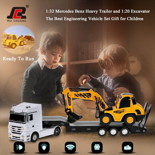 Trailer originale RUICHUANG QY1152 2.4G 01:32 Mercedes Benz usate e 01:20 escavatore Digger RTR RC Auto Vehicle Engineering Set