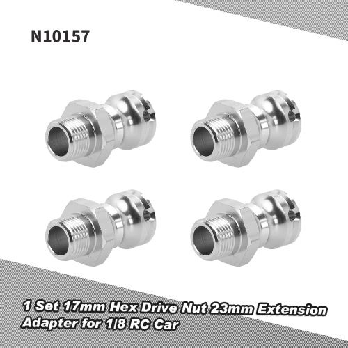 4Pcs N10157 Aluminum Alloy 17mm Hex Drive Nut 23mm Extension Adapter Pin for 1/8 HSP 94862 94880 Crawler RC Car
