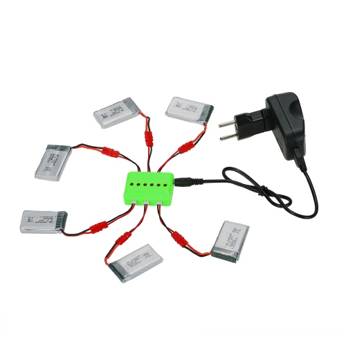 6Pcs 3.7V 500mAh Li-po Batterie 6 en 1 Kit Chargeur pour Syma X5SW X5SC X5HW X5HC RC Drone Quadcopter