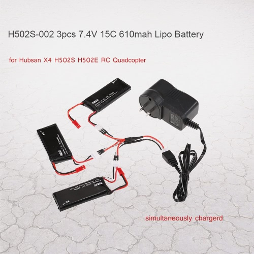 Hubsan X4 H502S H502E RCクワッドローターのための1バッテリーチャージャーで3と3枚H502S-002 7.4V 15C 610mAhリポバッテリーを
