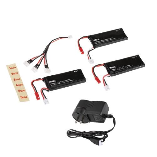 Batteries Lipo 3pcs H502S-002 7.4V 15C 610mAh avec chargeur de batterie 3 en 1 pour Hubsan X4 H502S H502E RC Quadcopter