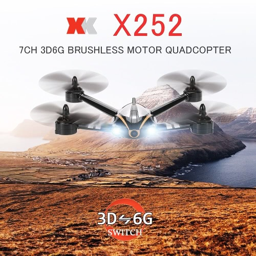 Original XK X252 FPV Real-time Transmission 2.4G 7CH 5.8G  3D 6G Mode Racing Drone With 720P 140° Wide-Angle HD Camera Brushless Motor RTF RC Quadcopter