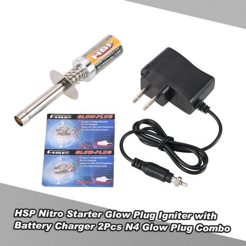HSP Nitro Starter Kit świec żarowych Zapalnik z ładowarka 2Pcs N4 świec żarowych Combo HSP RedCat Nitro Powered 8/01 1/10 RC Car
