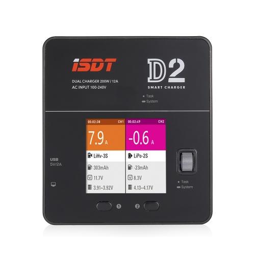iSDT D2 200wデュアル出力12A 1-6S AC100-240Vスマートバランスチャージャー、LiHv LiPo LiFe NiMH NiCd Pbバッテリー