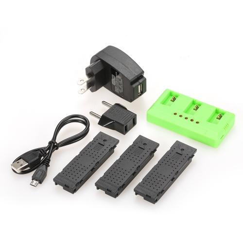 3 pcs 3.7 V 500 mAh Li-po Batterie avec 3 en 1 Chargeur de Batterie pour JJR / C H47 GoolRC T47 FPV Drone Quadcopter