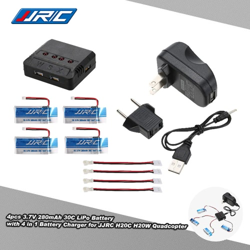 4pcs Original JJRC 3.7V 280mAh 30C Lipo Battery with 4 in 1 Battery Charger for JJRC H20C H20W RC Quadcopter
