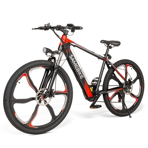 Samebike 26 Inch Power Assist Electric Bicycle with 350W Brushless Motor E-Bike with Dual Disc Brakes Suspension Front Fork