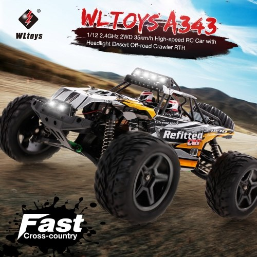 Wltoys A343 1/12 2.4GHz 2WD 35km/h High-speed RC Car with Headlight Desert Off-road Crawler RTR